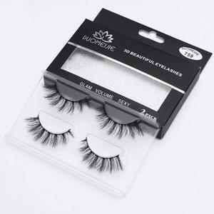 2 Pairs Eyelashes 100% Handmade 3D Mink Lashes Reusable Faux Cils Long Lasting Mink Eyelashes Make Up False Eyelash