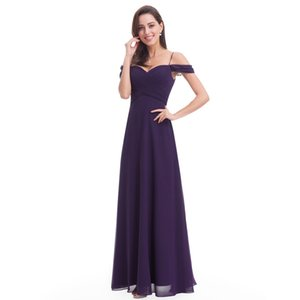 2020 Livraison gratuite Noble Halter Qi robes de soirée en mousseline de soie parole pourpre Robe à encolure en V Sangle longue robes de demoiselle d'HY153