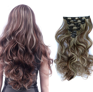 """24"""" 8pcs curly hair set for full head clips in hair extensions 11colors available clips hair pieces"""