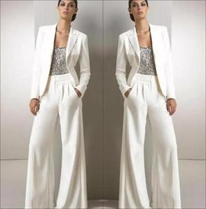 Белый Длинные рукава Sequined Формальное партия Мать невесты Костюмы Пант с курткой Три пьесы Матери Groom Pant Suit BA9205