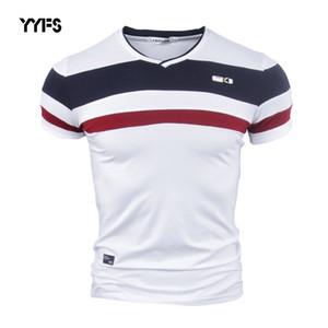 YYFS Hombres Manga Corta Camisetas para Hombre 2018 Nuevo Verano 100% Algodón Puro Patchwork Vintage Tees camiseta con cuello en V Algodón Homme M-4XL