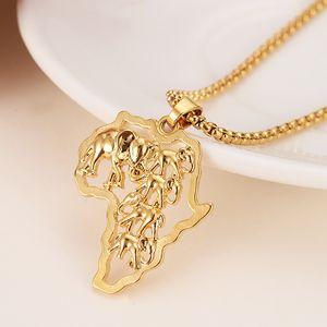 Goldfarbe Afrika Elefant Halskette für Männer / Frauen Mode afrikanische Karte Anhänger Kette Hiphop Tier Schmuck Party Geschenke