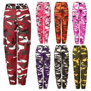 3XL Outono Inverno Moda Mulheres Camuflagem Pant cintura alta Hiphop-de-rosa Camo Pant com bolsos Calças Militar carga Pant Jogger Dança