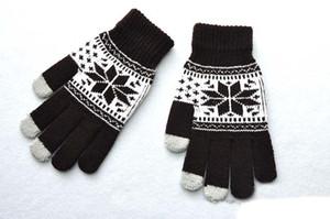 Пять пальцев перчатки женщины жаккардовые сенсорный экран перчатки снежинка цветок клен шаблон взрослых перчатки для мужчин зима теплая перчатка