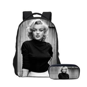 vente en gros 2 PCS / SET Sacs À Dos Pour Garçons Filles Bookbag Mode Déesse Sexy Marilyn Monroe 3D Impression Sacs À Dos Avec Trousse À Crayon