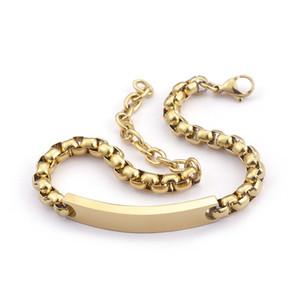 Oro 6 mm 8.66 '' Caja hecha a mano de acero inoxidable Rolo Cadena ID Pulsera Moda Mens Bangle cadena de extensión A Estrenar