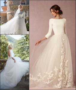 2018 새로운 올리비아 팔레르모 우아한 웨딩 드레스 Boho 여름 해변 계층 Tulle Bridal Gowns 오픈 뒷면 긴 소매 레이스 Vestido de Novia