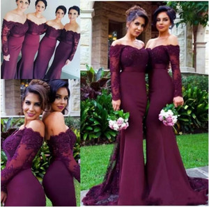 2018 Cheap Burgundy Mermaid Long Bridesmaid Dresses Sexy Off Shoulder Lace Applique Beaded Party Gowns Maid Dress Plus Size Custom Made