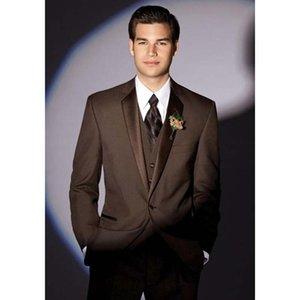 Özel Kahverengi Slim Fit Erkek Takım Elbise Smokin 2019 Damat Adam Düğün Takımları Rahat Iş Elbise Ceket