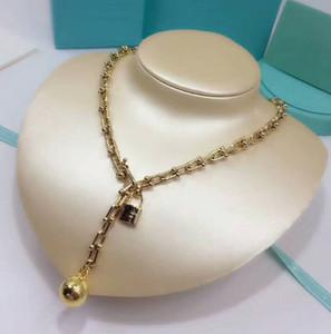 Haute qualité marque bijoux acier titane collier de perles verrouillées or rose plaqué or médaillon femmes jamais rasé trois couleurs