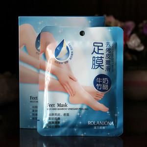 Rolanjona Milk Bamboo Vinegar Feet Mask Peeling Exfoliating Dead Skin Remove Professional Feet sox Mask Foot Care