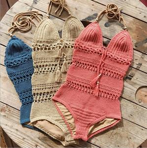 Bodysuit Bikini Frauen Crochet Gestrickte Bademode Sexy Sommer Badeanzug Verband Aushöhlen Badeanzüge Mode Strampler Tankini Beachwear B4087