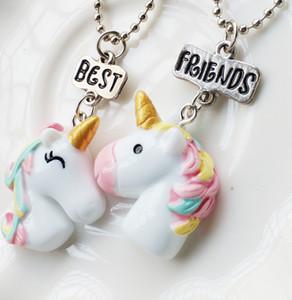 2PCS / Set New Arrive Bff My Little Unicorn Collana pendente Best Friends BFF Collana con catena a perle Gioielli Hot