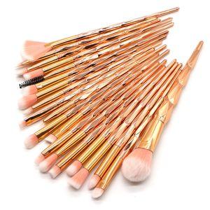 Novo 20 Pcs Diamante Brushes Set Pó Foundation Blush Sombra de Olho Mistura Lip Cosméticos Beleza Make Up Brush Tool Kit