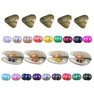 Los gemelos por mayor perla de la ostra 2018 nuevos 27colors Ronda 6-7 mm cultivadas de agua dulce natural en fresco de la ostra perla de mejillón Farm Supply regalo Surpris