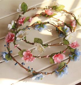 Hochzeit Braut Mädchen Kranz Blume Floral Krone für Frauen Kinder Kopf Kleine Kirsche Tiara Garland Haarband Kopfschmuck