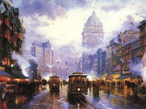 Thomas Kinkade Landscape Painting Reproduction Picture Giclee Print on Canvas American city street scene Modern Wall Art Home Decor HT225