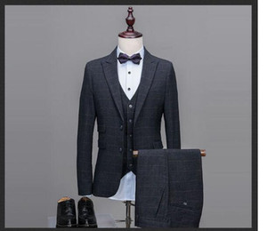 2018 джентльмен отделкой подходят решетки мужские свадебные смокинги 4 шт. Комплект Groomsmen Side Vent Лучший формальный мужской костюм мужские костюмы мужские жениха смокинги