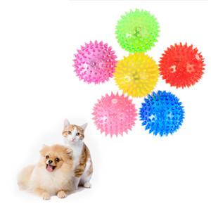 Usine En Gros Chien Chat Pet Squeaky Toys En Caoutchouc Doux Lumineux Chien À Mâcher Jouet Élastique Hérisson Ball Puppy Jouet Livraison Rapide Gratuite
