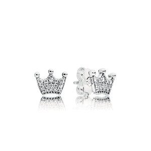 COSEN PAN Original Sterling Silver 925 Pendientes Enchanted Crowns Stud Earrings, Clear CZ Jewelry para Mujeres Regalo 297127CZ
