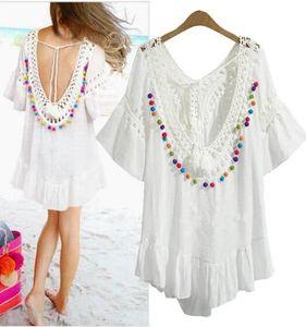 Новая летняя женская нерегулярная футболка Платье Lady's Sexy Backless V Neck Красочные шарики Tassels Топы Мини-платье White C3582