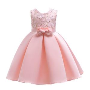 2018 Childrens Pink Beading Flowers Princess Dresses Kids Party Clothes Baby Girls Elegant Dress Toddler Flower Wedding Dress For 100-150cm