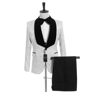 White Paisley Men Wedding Tuxedos Black Velvet Shawl Lapel Side Vent Groom Tuxedos Men Dinner Darty Dress3 Piece Suit(Jacket+Pants+Tie+Vest)