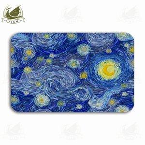 Vixm Glowing Starry Sky Abstract Background In Impressionist Welcome Tappetino zerbino Flanella Ingresso antiscivolo Cucina coperta Tappeto da bagno