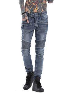 Jeans biker punk in denim denim skinny in pelle coreana sottile firmati da uomo di marca Cosmama