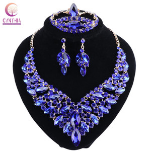 Blue Crystal Rhinestone Gold Color Necklace Earrings Bracelet Ring Set for Women Wedding  Bridal Jewelry Sets