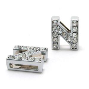 Lettere di scorrimento strass 10 millimetri N-Z può scegliere ogni lettera (20 pezzi / lotto) Fit braccialetto braccialetto fai da te LSSL02-N-Z * 20