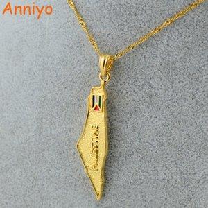 Anniyo 팔레스타인지도 국가 깃발 펜던트 목걸이 체인 여성을위한 골드 컬러 쥬얼리 남성 팔레스타인 선물 # 005101