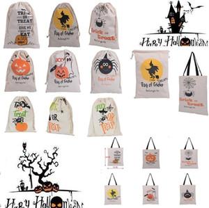 Neue Halloween-Taschen Party Supplies Leinwand Beuter 15 Styles Tunnelzug Gift Bag Canvas Santa Sack Stuff Sacks Tragetasche für Halloween