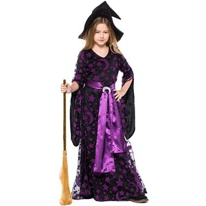 New Girl Halloween Witch Set Purple Star Moon Mesh Witch Costume Stage Costume Cosplay Wear Mask Dance Party Clothing Witch Wear