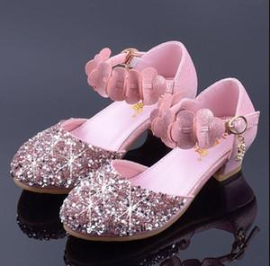 Kinder Schuhe für Mädchen High Heel Prinzessin Sandalen Mode Kinder Schuhe Glitter Leder Schmetterling Mädchen Partykleid Hochzeitstanz GA588