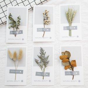 Hermosas tarjetas de felicitación Tarjetas de agradecimiento con flores secas Hojas secas Tarjetas de invitación de boda de regalo de día de San Valentín