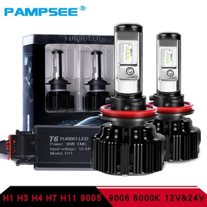 PAMPSEE T6 Turbo Led Headlight H7 H4 led Lampadina faro Turbo Decoder H1 9005 9006 Hi / Lo Beam CSP Chip 12V 30W 6000K