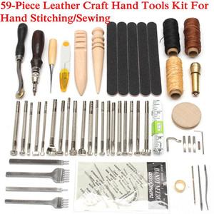 59 Unids / lote Artesanía de Cuero Herramientas de Mano Kit Thread Awl Kit Dedal Encerado Para Coser a Mano Costura Selladora DIY Tool Set