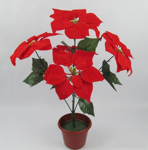 Christmas flower poinsettia artificial flowers poinsettia home festival decoratiion flower 45cm 5 Head Poinsettia Flower