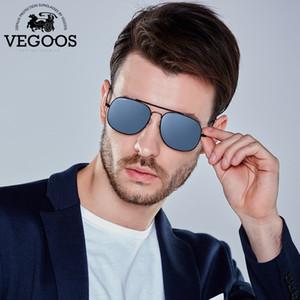 VEGOOS Polarized Men Sunglasses Aviator Marco de acero inoxidable Mirrored Lenses Fashion Retro Elegant Sun Glasses Unisex # 3172