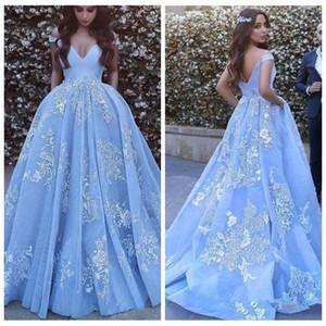 2021 nuovi spalla pizzo applique Ice Blue Ball Gown Prom Dress Dubai arabo personalizzato sera convenzionale Quinceanera partito abiti
