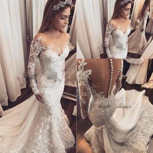 2018 robe de mariage sirène robes de mariée à manches longues bijou à manches longues pure dentelle applique 3d fleurs perlé guiche de mariée