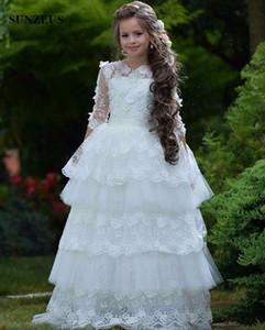 A-line con gradas princesa vestidos de niña de encaje de tul largo niños vestidos de fiesta con flores perlas de media manga de primera comunión dres
