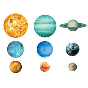 9pcs / set Nove Sistema Solar Planetas Adesivos de parede luminosa estrela Adesivos Grande Fluorescent Decalque Home Decor