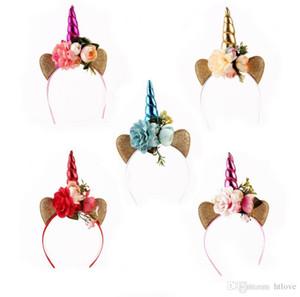 El yapımı Çocuk Parti Unicorn Kafa Boynuz Glittery Güzel Şapkalar Saç Aksesuarları Prenses Çiçek Parti Hairband