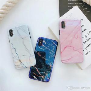 2018 cas de téléphone de pierre de marbre de Blu-ray de mode pour l'iPhone X 8 7 6 plus doux cas de téléphone de laser de TPU Silicone IMD