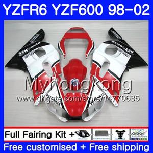 Corpo per YAMAHA vendita calda bianco rosso YZF R6 98 YZF600 YZFR6 98 99 00 01 02 230HM.6 YZF 600 YZF-R600 YZF-R6 1998 1999 2000 2001 2002 Carene