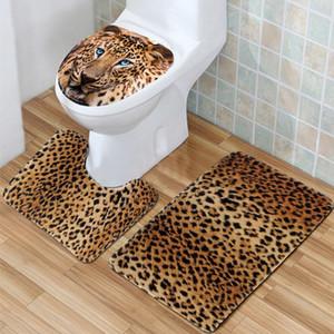 NOVO! 3 Pçs / set Leopardo Antiderrapante Textura Pedestal Rug + Tampa Tampa Do Banheiro + Tapete De Banho