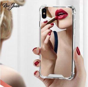 Ultra delgado Cojín de aire Anti-golpe Espejo Funda de TPU suave y transparente Cubierta del teléfono celular a prueba de golpes para iPhone X XS MAX XR 7 8 más