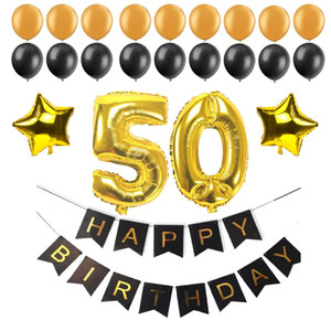 Nouveau design 40 50 60 30 ans Joyeux anniversaire papier Bunting Numéro Bannière feuille Ballons Latex Birthday Party Supplies Décoration Noir